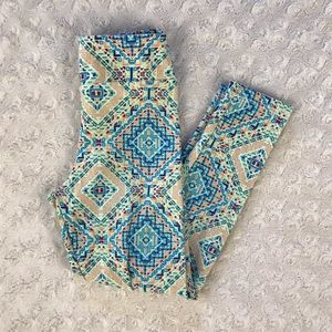 LuLaRoe S/M Little Girl Leggings Blue Multi Print